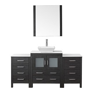 Virtu USA Dior 66 inch Single Sink Vanity Set in Zebra Grey