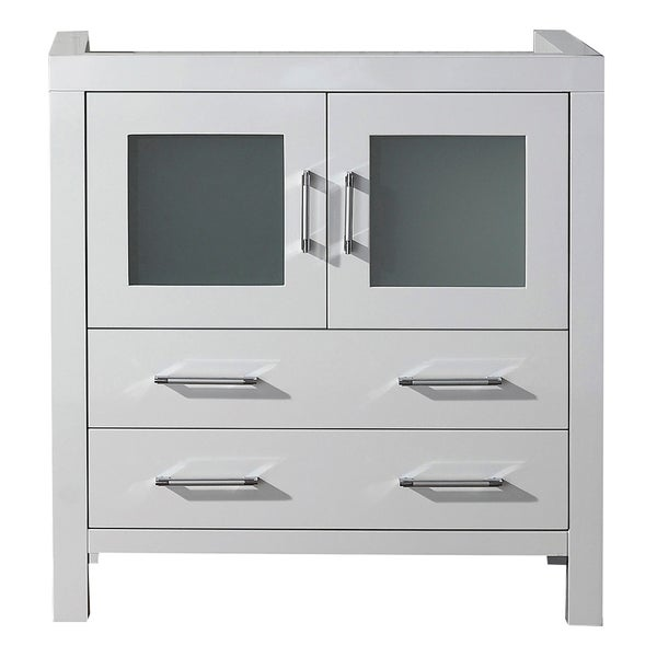 Virtu USA Dior 32 Inch White Single Sink Cabinet Only Bathroom Vanity Free