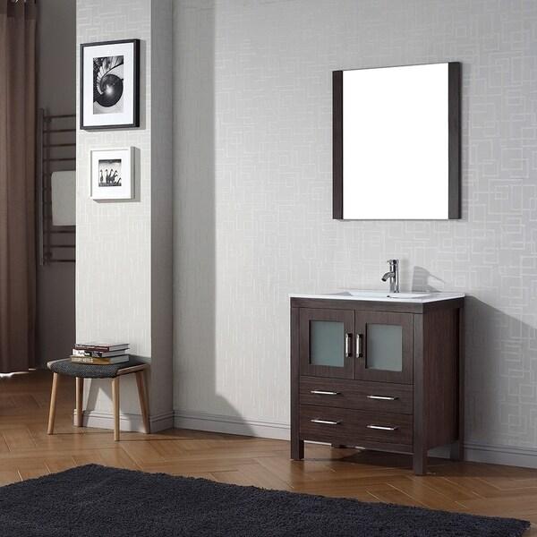 Virtu usa dior 30 inch single sink vanity set in espresso - 30 inch single sink bathroom vanity ...