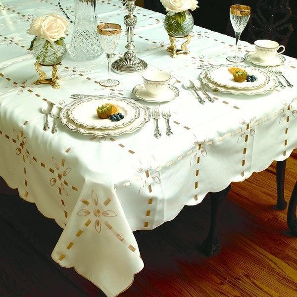 Gold Ribbon Box Design Tablecloth