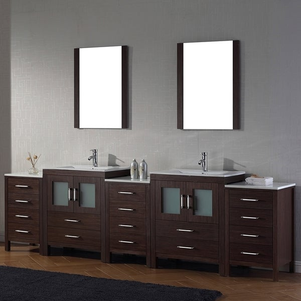 Virtu Usa Dior 110 Inch Double Sink Vanity Set In Espresso Free Shipping Today Overstock
