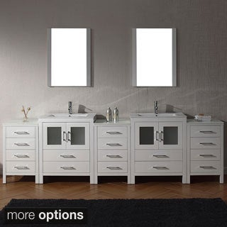 Virtu USA Dior 110 inch Double Sink Vanity Set in White