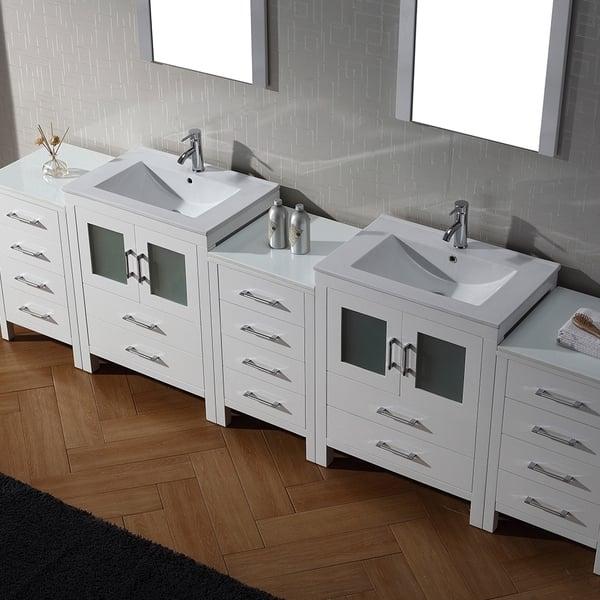 Virtu Usa Dior 110 Inch Double Sink Vanity Set In White Overstock 8911004