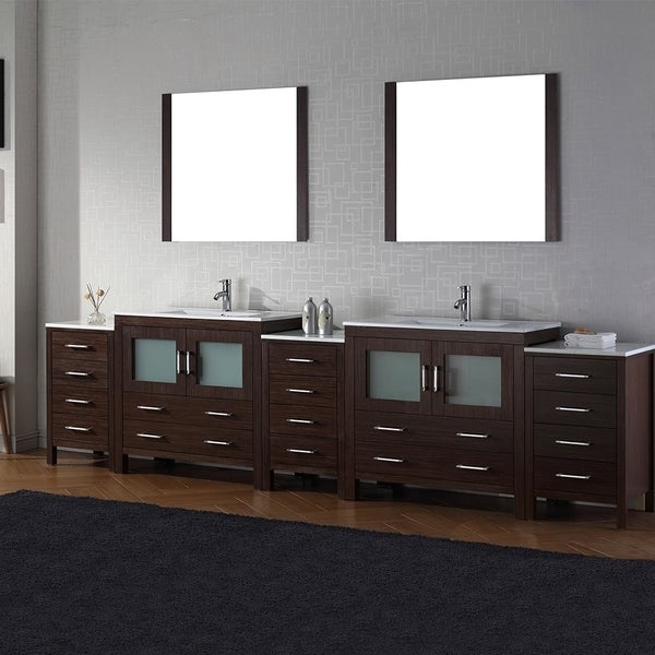 Virtu Usa Dior 118 Inch Double Sink Vanity Set In Espresso Free Shipping Today Overstock