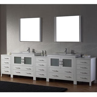 Virtu USA Dior 118 inch Double Sink Vanity Set in White