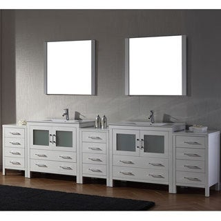Virtu USA Dior 126 inch Double Sink Vanity Set in White