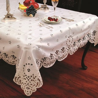 High Quality Cut Work Daisy Embroidered Tablecloth