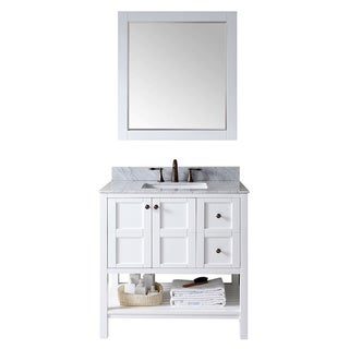 Virtu USA Winterfell 36 inch Single Sink White Vanity with Carrara White Marble Countertop with Backsplash