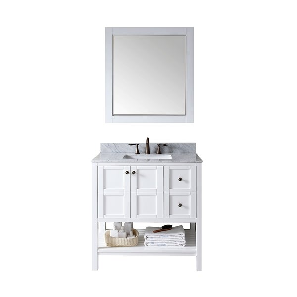 Shop virtu usa winterfell 36 inch single sink white vanity with carrara white marble countertop for White bathroom vanity 36 inch