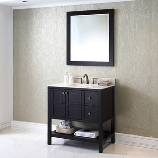 Virtu USA Winterfell 36 inch Single Sink Espresso Vanity with Carrara White Marble Countertop with Backsplash