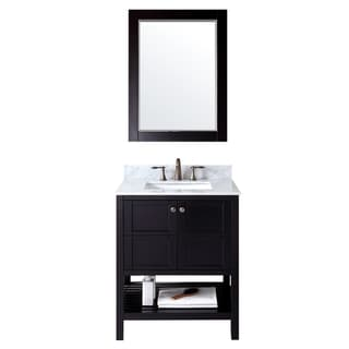Virtu USA  Winterfell 30 inch Single Sink Espresso Vanity with Carrara White Marble Countertop with Backsplash