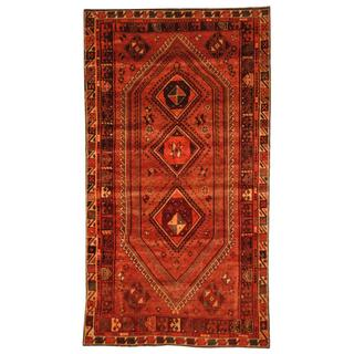 Semi-antique 1970s Persian Hand-knotted Shiraz Red/ Burgundy Wool Area Rug (5' x 9'2)
