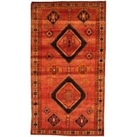 Antique 1960s Persian Hand-knotted Shiraz Red/ Beige Wool Area Rug (5' x 8'9)