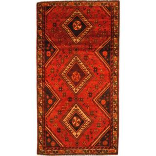Herat Oriental Antique 1960's Persian Hand-knotted Shiraz Red/ Beige Wool Rug - 5'1 x 9'5