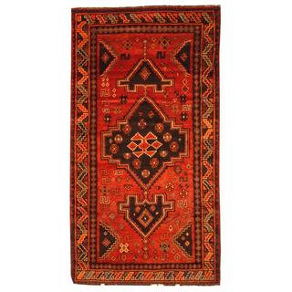 Semi-antique 1960s Persian Hand-knotted Shiraz Red/ Brown Wool Area Rug (5' x 9'5)