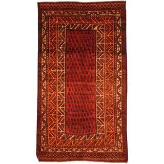 Antique 1960's Persian Hand-knotted Musel Hamadan Red/ Ivory Wool Rug (5' x 9')