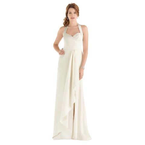 Dessy After Six Bridal Style Women's Draped Bodice Halter Wedding Gown