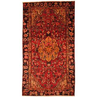 Semi-antique 1960s Persian Hand-knotted Housinabad Hamadan Red/ Navy Wool Area Rug (4'8 x 8'5)