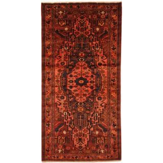Antique 1960's Persian Hand-knotted Mazlagan Hamadan Burgundy/ Rust Wool Rug (4'4 x 8'8)
