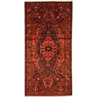 Antique 1960's Persian Hand-knotted Mazlagan Hamadan Burgundy/ Rust Wool Rug (4'4 x 8'8)