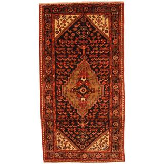 Antique 1960's Persian Hand-knotted Malayer Hamadan Navy/ Red Wool Rug (4'9 x 9')