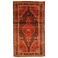 Handmade Antique 1960's Persian Hand-knotted Nahavand Hamadan Red/ Black Wool Rug - 5'3 x 9'1