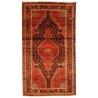Antique 1960's Persian Hand-knotted Nahavand Hamadan Red/ Black Wool Rug (5'3 x 9'1)