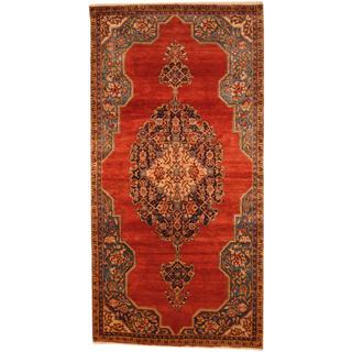 Antique 1970's Persian Hand-knotted Wiss Hamadan Red/ Blue Wool Rug - 5' x 9'9