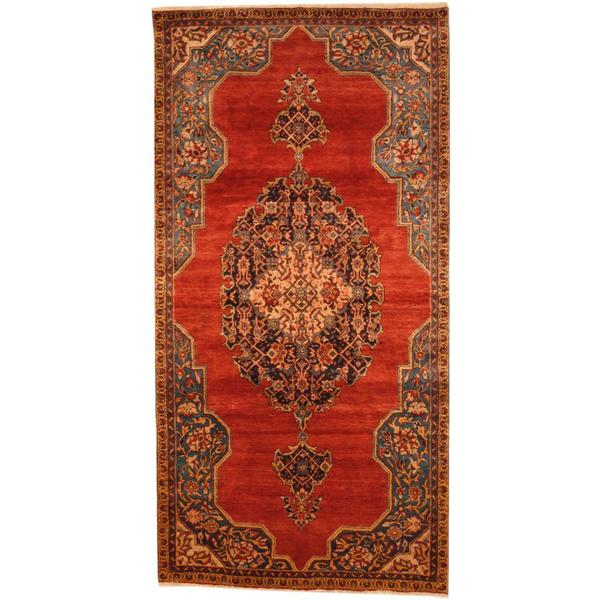 Antique 1970's Persian Hand-knotted Wiss Hamadan Red/ Blue Wool Rug (5' x 9'9)