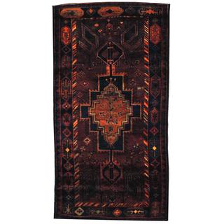 Antique 1960's Persian Hand-knotted Tribal Musel Hamadan Rust/ Navy Wool Rug (4'9 x 8'11)