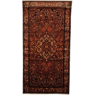 Antique 1960's Persian Hand-knotted Tribal Lilihan Hamadan Peach/ Ivory Wool Rug (4'10 x 9'8)