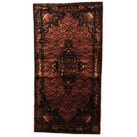 Antique 1960's Persian Hand-knotted Tribal Nahavand Hamadan Peach/ Navy Wool Rug (5' x 9'8)
