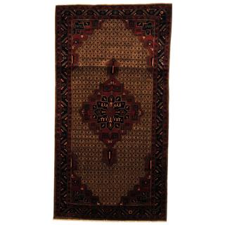 Handmade Antique 1960's Persian Hand-knotted Tribal Nahavand Hamadan Brown/ Navy Wool Rug - 5'1 x 9'8