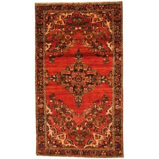 Antique 1970's Persian Hand-knotted Koliae Hamadan Red/ Navy Wool Rug (5' x 8'8)