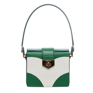 Prada BR5045 053 F0QMQ Saffiano Flap Gusset Shoulder Bag (As Is Item)
