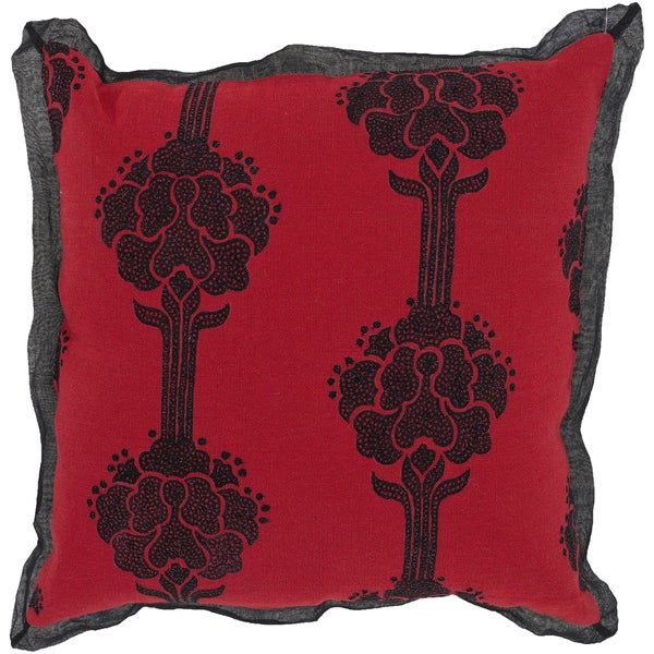 Decorative Pillows Red And Black : Black and Red Blood Rose 18-inch Feather Filled Decorative Throw Pillow - Free Shipping On ...
