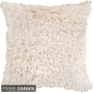 Fluffy Shag 22-inch Sqaure Down Feathers or Poly Filled Decorative Throw Pillow