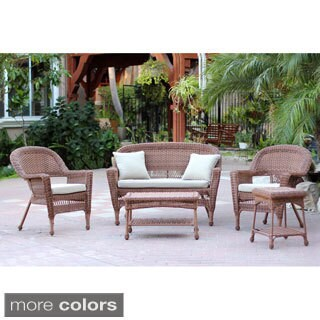 Honey Wicker 5-piece Conversation Set with Cushions