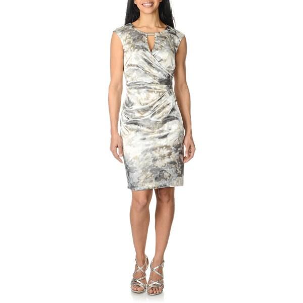 London Times Women's Grey/ White Floral Print Dress
