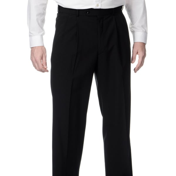 Palm Beach Men's Big & Tall Black Expanded Waist Pleated Front Pants. Opens flyout.