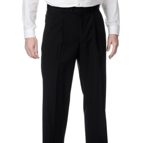 Palm Beach Men's Big & Tall Black Expanded Waist Pleated Front Pants