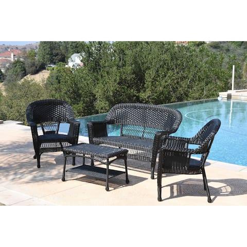 Black Wicker 4-piece Conversation Set with Cushions