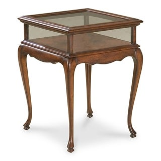 Cherry Glass Top Curio Table