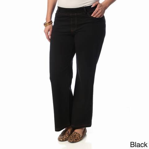 La Cera Women's Plus Size Wide-leg Knit Denim Pants