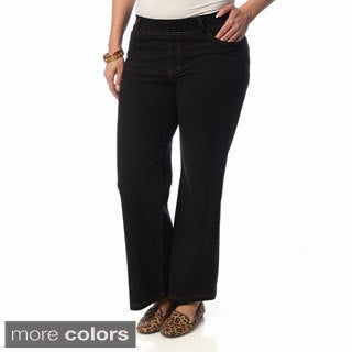 La Cera Women's Plus Size Wide-leg Knit Denim Pants