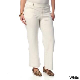 La Cera Women's Plus Size Wide-leg Knit Denim Pants (More options available)