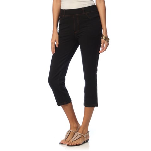La Cera Women's 5-pocket Denim Capri Pants