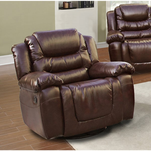Mesa Brown Bonded Leather Rocking Swivel Recliner Free