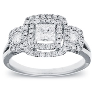 Azaro 14k White Gold 1ct TDW Diamond Double Halo Vintage Engagement Ring (G-H, SI2-I1)