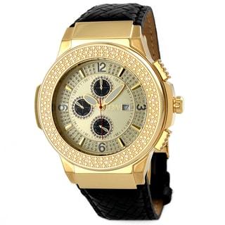 JBW Men's 'Saxon' Braided Leather Crystal Watch